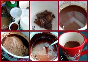 1 - Ingredients 2 - Melt the chocolate and oil 3 - Mix well 4 - Add the dry ingredients 5 - Add remainder of ingredients and mix 6 - Pour into a mug
